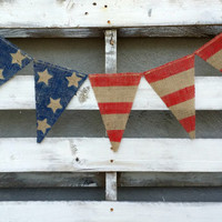 American Flag Burlap Banner, 4th of July Banner, Flag Banner, USA Banner, Welcome Home Sign