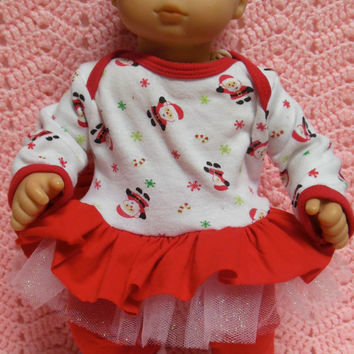 "AMERICAN GIRL Bitty Baby Clothes ""So Many Santas"" (15 inch) Christmas doll outfit dress, leggings, booties/ socks, and headband / hair clip"