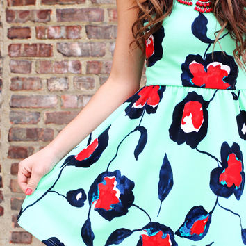 Mint Poppy Dress