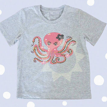 Octopus shirt pink sea animal Kids tshirts -Toddler tees -Toddler shirts - Cute Toddler shirts - Boy shirt - Girl shirt