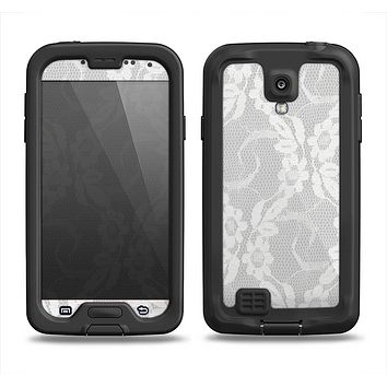 The White Floral Lace Samsung Galaxy S4 LifeProof Fre Case Skin Set