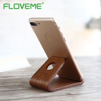 FLOVEME Vintage Wood Phone Stand Holder For iPhone 6 6S 7 Plus Universal Desktop Holder For iPad Mini Samsung Huawei Xiaomi LG