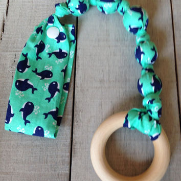 Lil Whales snap teether, baby teething toy, Whales wood teether, Organic teething ring, Tula snap on toy, fabric teether, wood teething ring