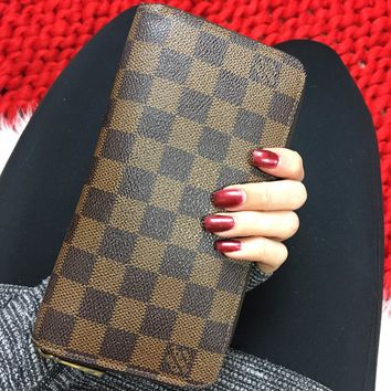 LOUIS VUITTON Damier Ebene Zippy Organizer Long Wallet