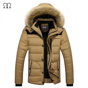 2017 Winter New Men Down Coat Brand Clothing With Fur Collar Casual Hooded Thick Warm Duck Down Jacket Men Anti-Snow