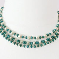 Pearl & magnesite necklace, turquoise and white pearl 3 strand necklace, magnetic clasp, UK shop