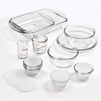 15 Piece Glass Bakeware Set with Food Storage Bowls & Lids