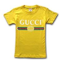 GUCCI street fashion men and women models high quality classic printed cotton round neck T-shirt Army green