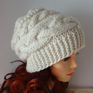 womens slouchy - beanie hat - Slouch Beanie - Large mens hats - chunky hat - Chunky Knit Winter Fall Accessories  Slouchy hat Knit Cable hat