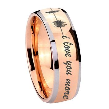 8MM Rose Gold Dome Sound Wave i love you more more 2 Tone Tungsten Carbide Laser Engraved Ring