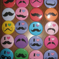 20 Pin Back Button Party Favors Mustache Party Theme 1.25 inch Buttons