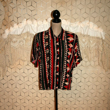 Boxy Top Short Sleeve 90s Shirt African Tribal Print Blouse Casual Button Up 1990s Vintage Clothing Cotton Rayon Medium Large Women Clothing