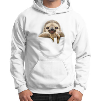POCKET SLOTH Gildan Hoodie (on man)