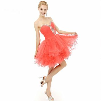 Beaded Crystal Ball gown Short Tulle dresses Cocktail Prom Party Dress