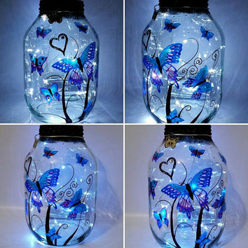 Hand painted Butterflies Lantern / candle holder / night light....MADE TO ORDER.