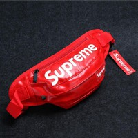 Supreme Trending Simple Men Women Pint Leather Purse Waist Bag Single-Shoulder Bag Crossbody Red