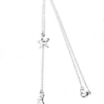 Silver-plated Moon & Star Y Necklace