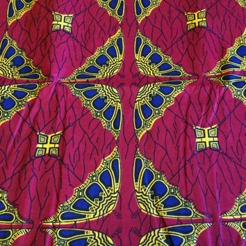 African Wax Print Fabric by the Half  Yard. Dark Red, Royal Blue, Yellow Parasols--Made in Mali