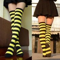 Fashion Sexy Women Girl Thigh High Striped Over the Knee Socks Cotton Stockings