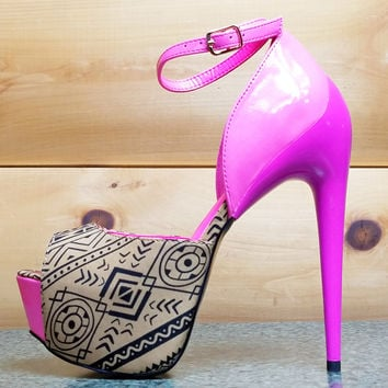 "Hot  Night Tan Pink Tribal Sleek 6.5"" Heel Platform Shoe 7-11"