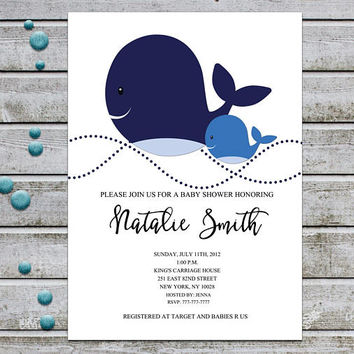 Whale Baby Shower Invitation Printable Boy Baby Shower Invitation Nautical Baby Shower Invites Template Navy Blue Gray  (v40)