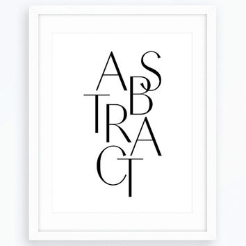 Abstract Wall Art, Typography Print, Scandinavian Design, Home Decor, Wall Art, Printable Design,  Nordic Poster, Black and White Poster