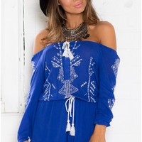 Fireflies Playsuit in Blue Embroidery