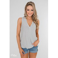 Down To Business Striped Button Back Blouse- White