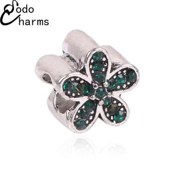 Hot Sale TOP Quality Silver plated Crystal Flower Charm Beads with Crystal Fit Pandora