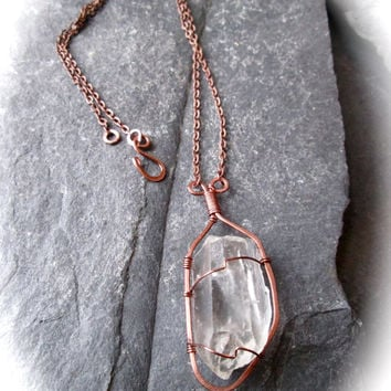 Lemurian Quartz Crystal Necklace - Wire Wrapped Hammered Copper on Iron Chain - Metaphysical Wicca Shaman Healing Necklace - Handmade in UK