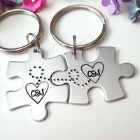 Personalized Anniversary Gift, Couple Keychains, Couples Initials, Anniversary Gifts for Men, Hand Stamped Keychain, Boyfriend Girlfriend