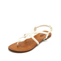 LOOPED & BRAIDED THONG SANDALS