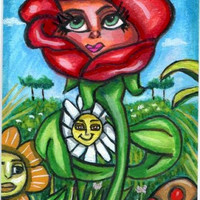 red rose magic flower garden original aceo mini art painting miniature fantasy fairytale creatures whimsical artwork