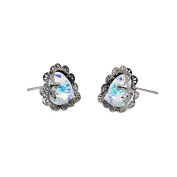 elegant love crystal earrings