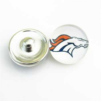 USA Football Denver Broncos Glass Snap Buttons Fit 18mm DIY Ginger Snap Bracelet Replaceable Button Jewelry