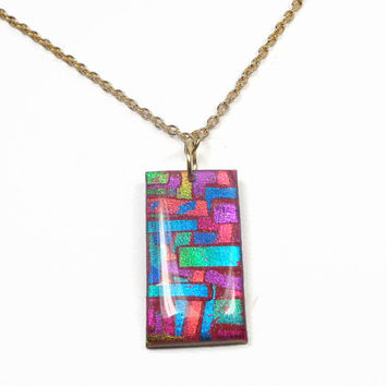 Mosaic Faux Dichroic Pendant Necklace- polymer clay jewelry- Chain Necklace- Trendy Pendant