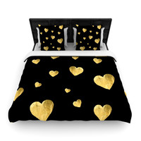 "Robin Dickinson ""Floating Hearts"" Gold Black Woven Duvet Cover"