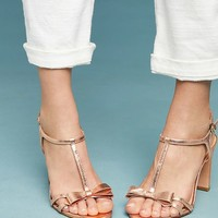 Vicenza Metallic Bow T-Strap Heels