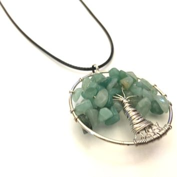 Tree of Life Necklace, Tree of Life Pendant, Tree of Knowledge, Green Aventurine Stone Pendant, Gift Necklace