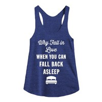 Why Fall in Love?-Female Tri Indigo Tank