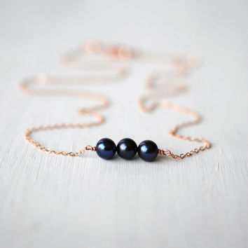 200 Trio Peacock Freshwater Pearl Necklace with 14K Rose Gold Filled Chain - dainty minimalist jewelry by lustre