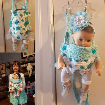 "baby carrier cartoon doll sling 15-16 inch dolls or stuffed animals ( Will fit Bitty Baby® ) ""Turquoise Turtles"" adjustable quilted A9"