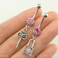Belly Button Rings,BFF Navel Jewlery,lucky belly button ring,bestfriend belly ring,key and lock set,oceantime