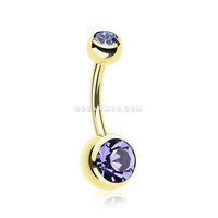 Gold PVD Double Gem Ball Steel Belly Button Ring (Tanzanite)