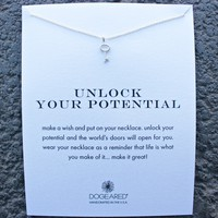"dogeared - unlock your potential key 16"" necklace in sterling silver"