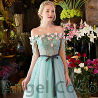 Women green trailing the Evening Dress 2016 Sexy long sleeve Lace Tulle Appliques Ball Gown Formal Prom Dress Vestido De Festa