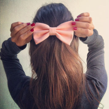 Light Peach Pink BIG hair bow (S-N-006)