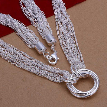 silver plated Chain Multi-line 3 Circle Necklaces Pendants Men jewelry 264 MP