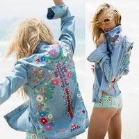 denim jacket women jacket fashion denim shirt tops long sleeves blue vintage boho hippie chic embroidery basic jackets clothing