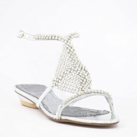 Silver Prom shoes with flat heels (Style 500-1)